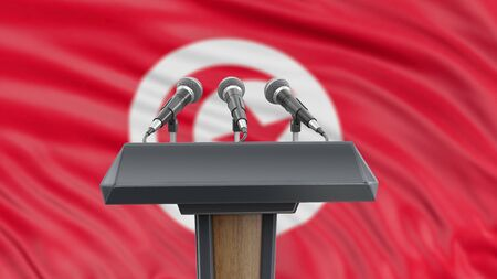 Podium lectern with microphones and Tunisian Flag in background Reklamní fotografie