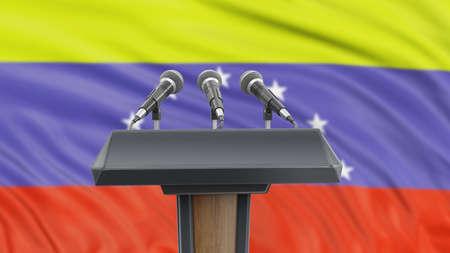 Podium lectern with microphones and Venezuelan flag in background Reklamní fotografie