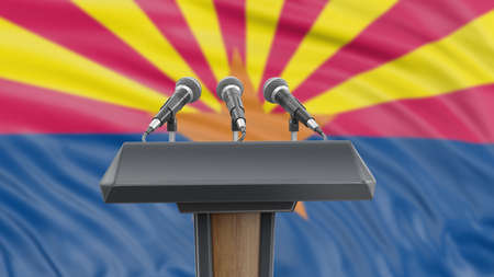Podium lectern with microphones and Arizona flag in background Reklamní fotografie