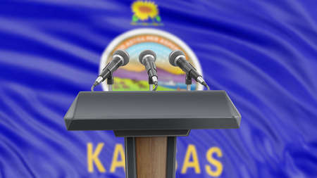 Podium lectern with microphones and Kansas flag in background Reklamní fotografie