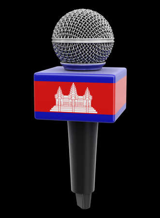 Microphone and Cambodian flag. Image with clipping path Stok Fotoğraf