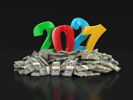 New Year 2021 and Dollars.