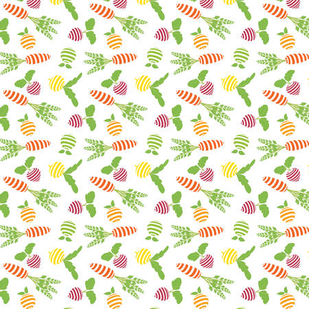 Pattern of fruit and vegetables on a white background