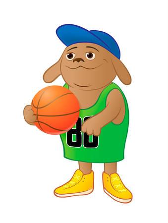 Dog basketball player in a green shirt
