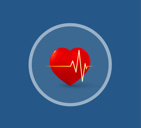 Medical logo heart and pulse in a circle Illustration