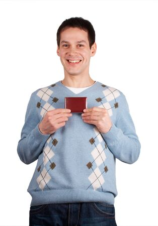Happy, smiling young man show red card Stock Photo - 3433236