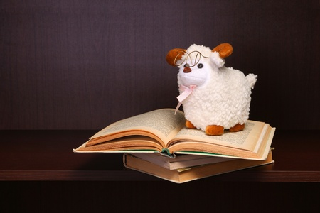 Sheep toy sits on stack of books. photo