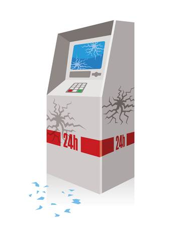 atm broken, automated teller machine robbed