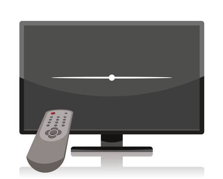 turn off tv, lcd television set turned off by remote control  Vector