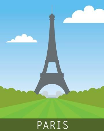 paris skyline: paris landscape with eiffel tower