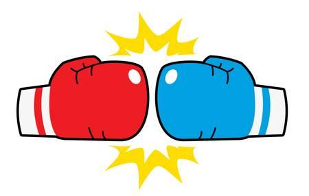 guantes de boxeo golpeó, rojo y azul Ilustración de vector