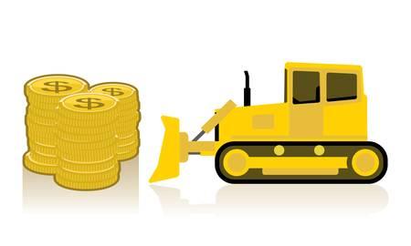 yellow bulldozer pushing pile of coins  Illustration
