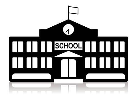 黒と白の学校校舎  イラスト・ベクター素材