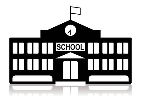 city  buildings: school building in black and white Illustration