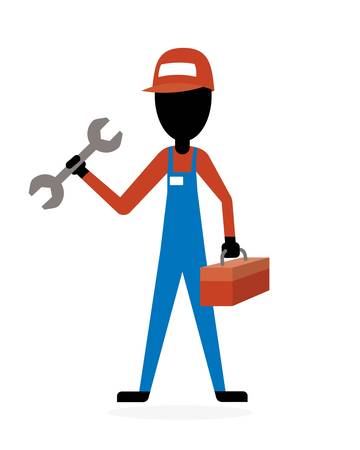 tradesperson: plumber, mechanic or handyman holding a wrench