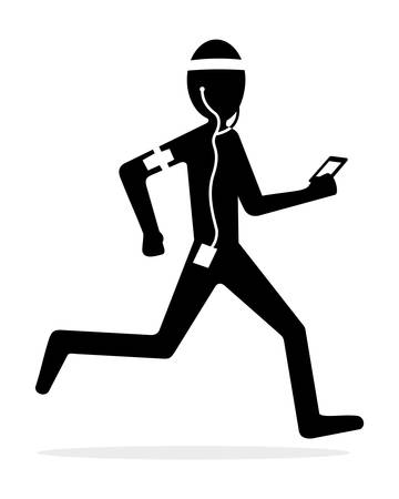jogging in nature: runner with jogging gear Illustration