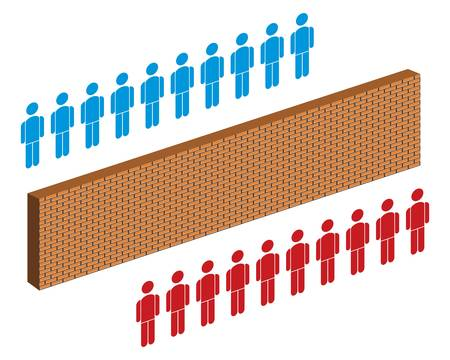 animosity: wall separating people, red and blue group of people  Illustration