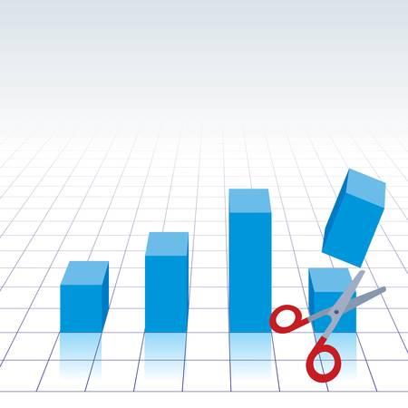 economic interest: chart graph with scissors cutting bar