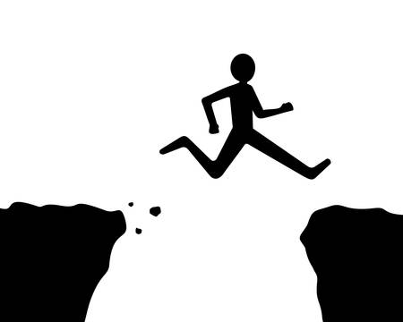 man jumping over the cliff or gap, black and white