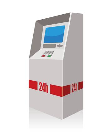 automated: atm, automated teller machine Illustration