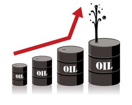oil barrel chart graph with red arrow pointing up  Vector