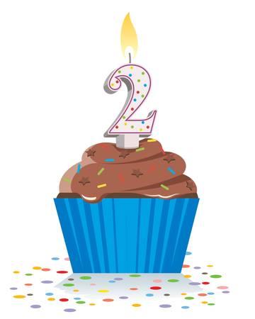 tweede verjaardag cupcake met brandende kaars in de vorm van nummer twee