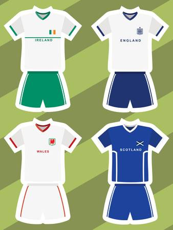 set of abstract football jerseys, ireland, england, wales and scotland  Vector