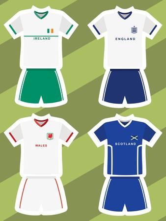 set of abstract football jerseys, ireland, england, wales and scotland  Vector