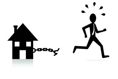 shackled: house mortgage concept, man breaking chains and escaping  Illustration