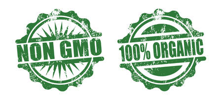 non gmo and 100% organic rubber stamps, green color Illustration