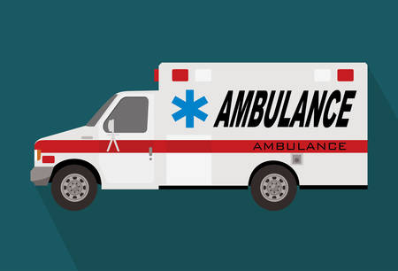 ambulance truck or van, abstract cartoon drawing  イラスト・ベクター素材