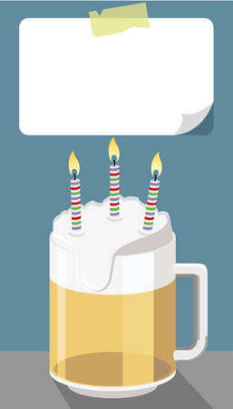 birthday message concept, beer mug with three candles and blank paper Çizim