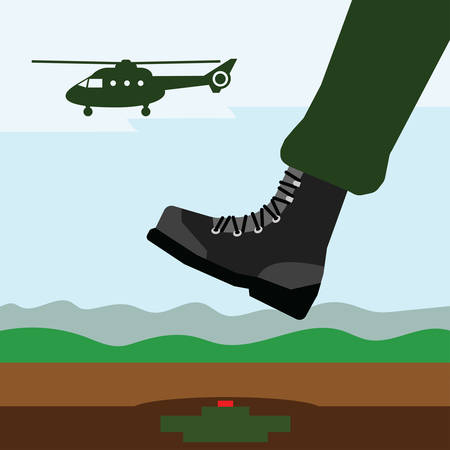 soldier  marching on mines field, close-up of his foot Illustration