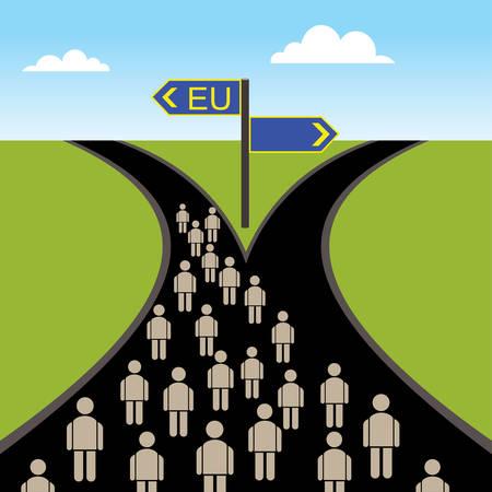 欧州連合の方向に進んで交差点の人々。
