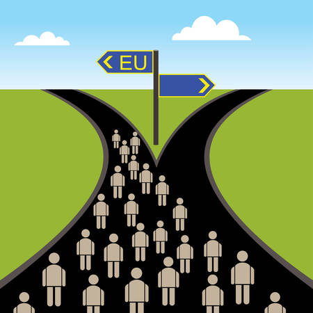 People on the crossroad going in European Union direction.