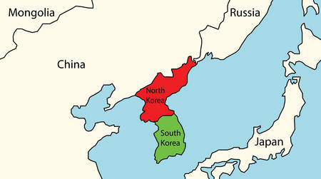 North and South Korea map with surrounding countries. Illustration