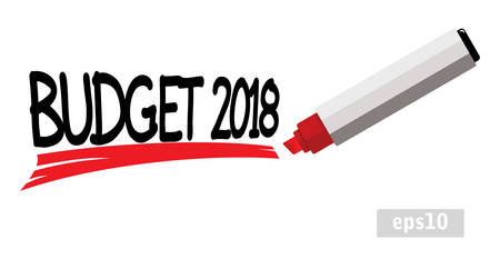 Words budget 2018 underlined by red marker