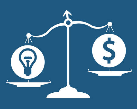 Idea and money on scales, light bulb and dollar sign Illustration