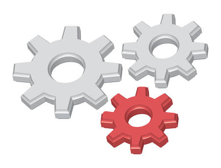 Cogwheels, two white and one red cogwheel