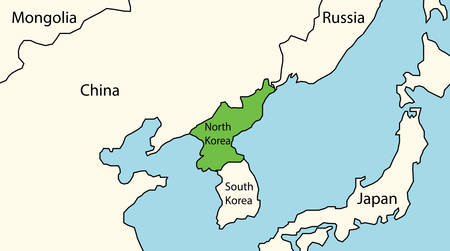 North Korea map with surrounding countries