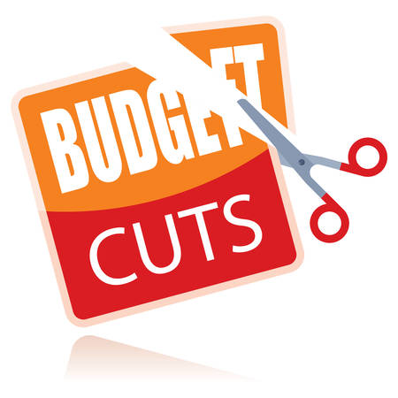 budget cuts paper cut with scissors Illustration