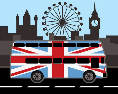 Double decker bus in  britain flag color with london cityscape Illustration