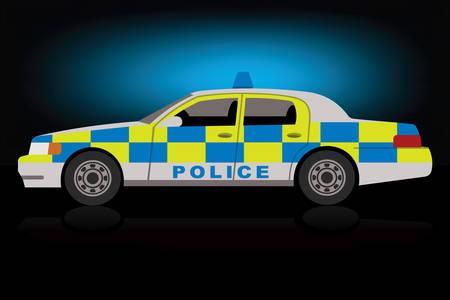 Polizeiauto, schwarzer Hintergrund, Rotation auf