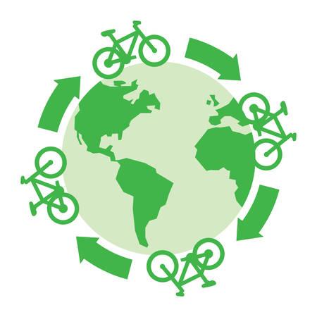 green bicycles drive around the globe