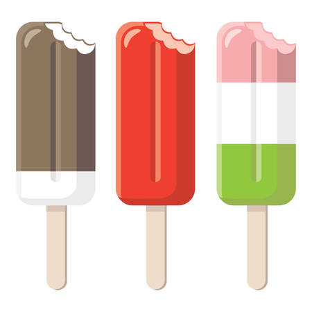 set of bitten popsicles isolated on white background Illustration