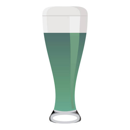 Beer glass with green beer
