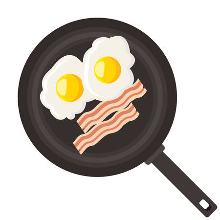 Eggs and bacon in pan