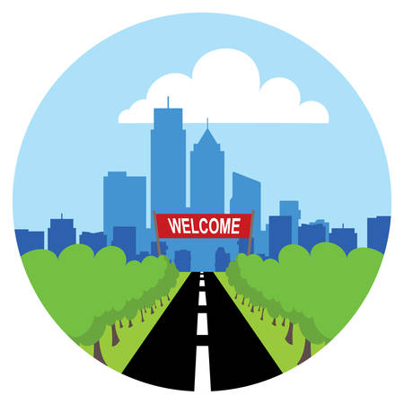 Road to city icon. Illustration