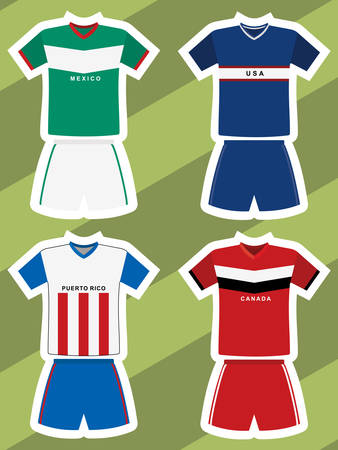 Set of abstract football jerseys, mexico, usa, puerto rico and canada