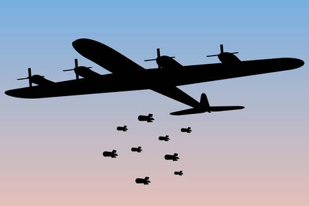 Bomber dropping bombs silhouette. Illustration